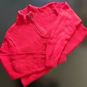 Red CHAMPS sweater with quarter zip